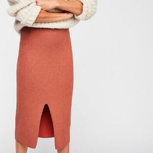 Free People Skyline Midi Skirt in Rust